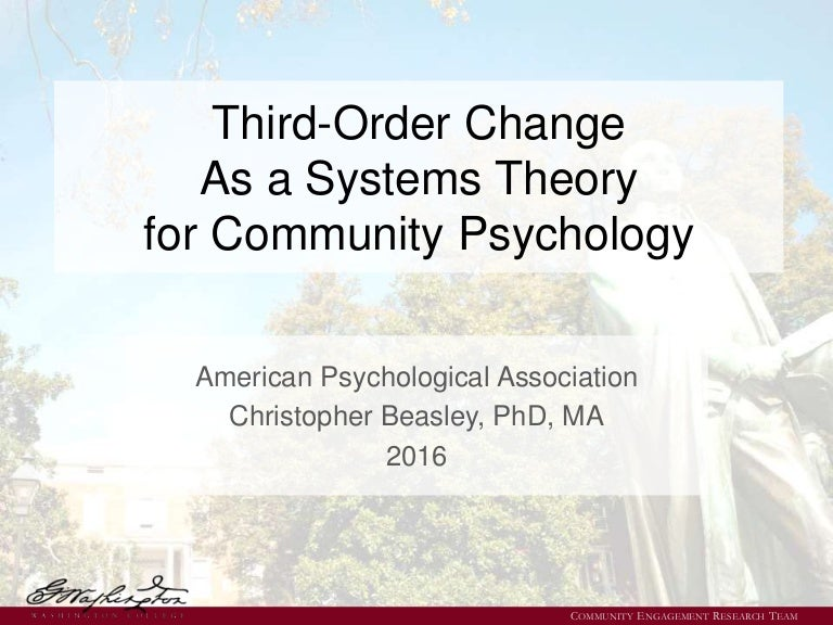 Third-Order Change As a Systems Theory for Community Psychology