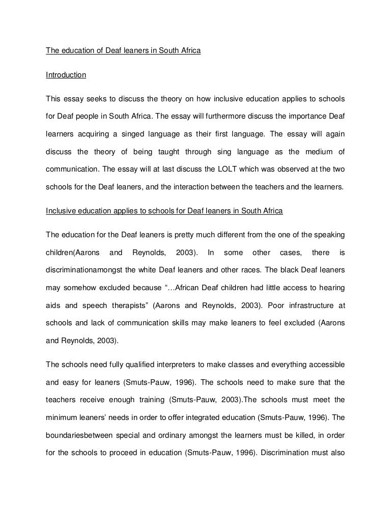 essay about inclusive education
