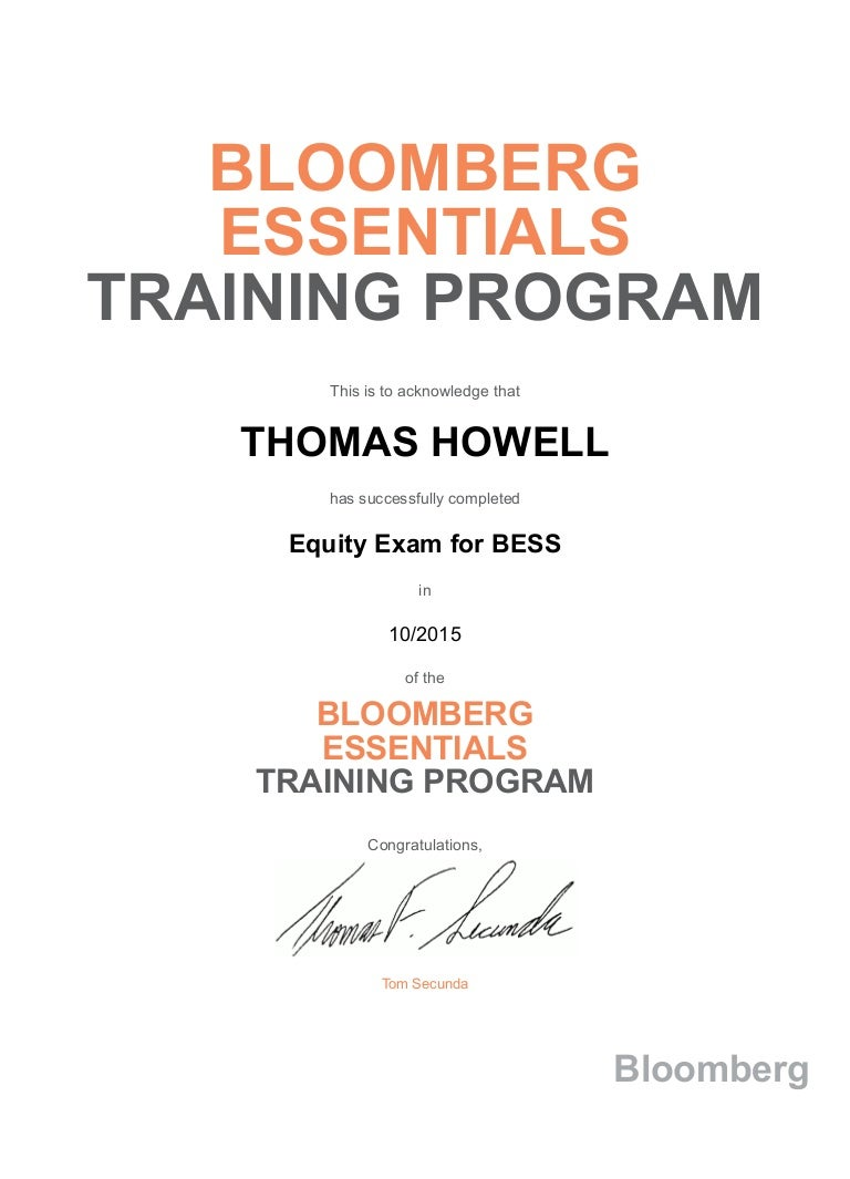 Bloomberg essentials training program equity exam for bess certificate 1betcityfo Image collections
