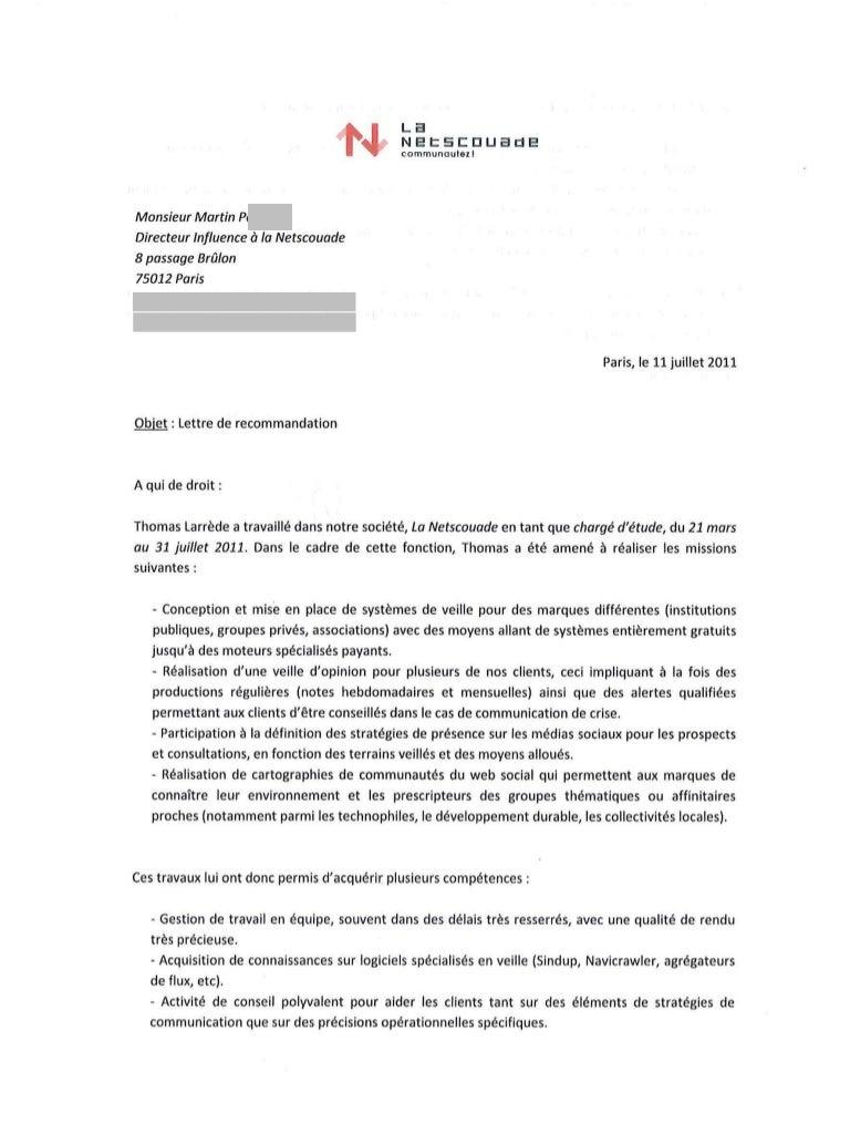 Lettre de recommandation - Thomas Larrède (La Netscouade - 2011)