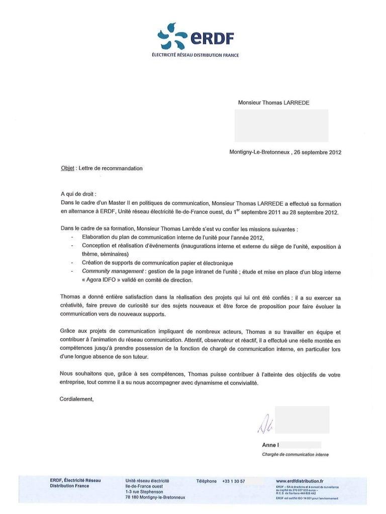 Lettre de recommandation   Thomas Larrède (ERDF   2012)