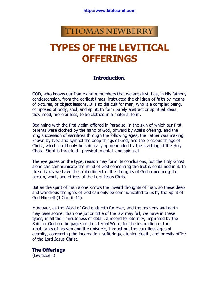 Thomas newberry types of the levitical offerings