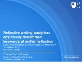 Reflective writing analytics: empirically determined keywords of written reflection