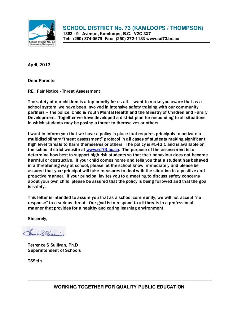Threat Assessment Letter April 2013