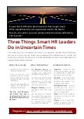 Three things Smart HR Leaders do in Uncertain Times
