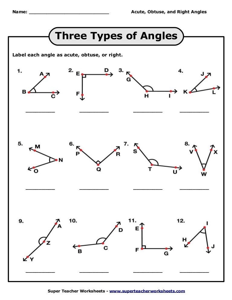 Acute Obtuse And Right Angles Worksheets Delibertad – Identifying Angles Worksheet