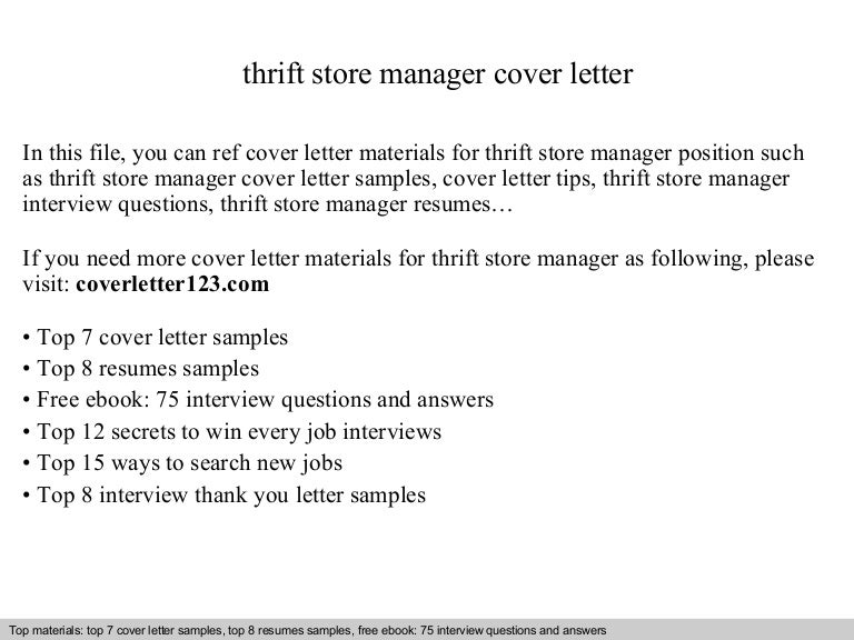 Thrift store manager cover letter