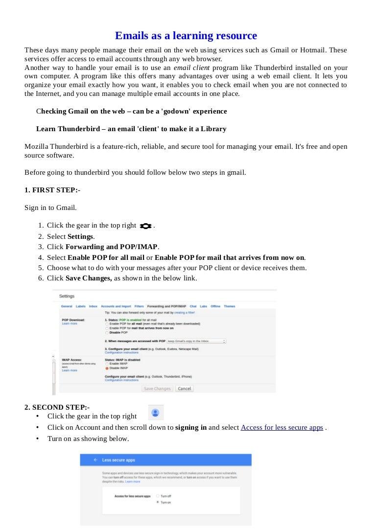 comcast email configuration thunderbird
