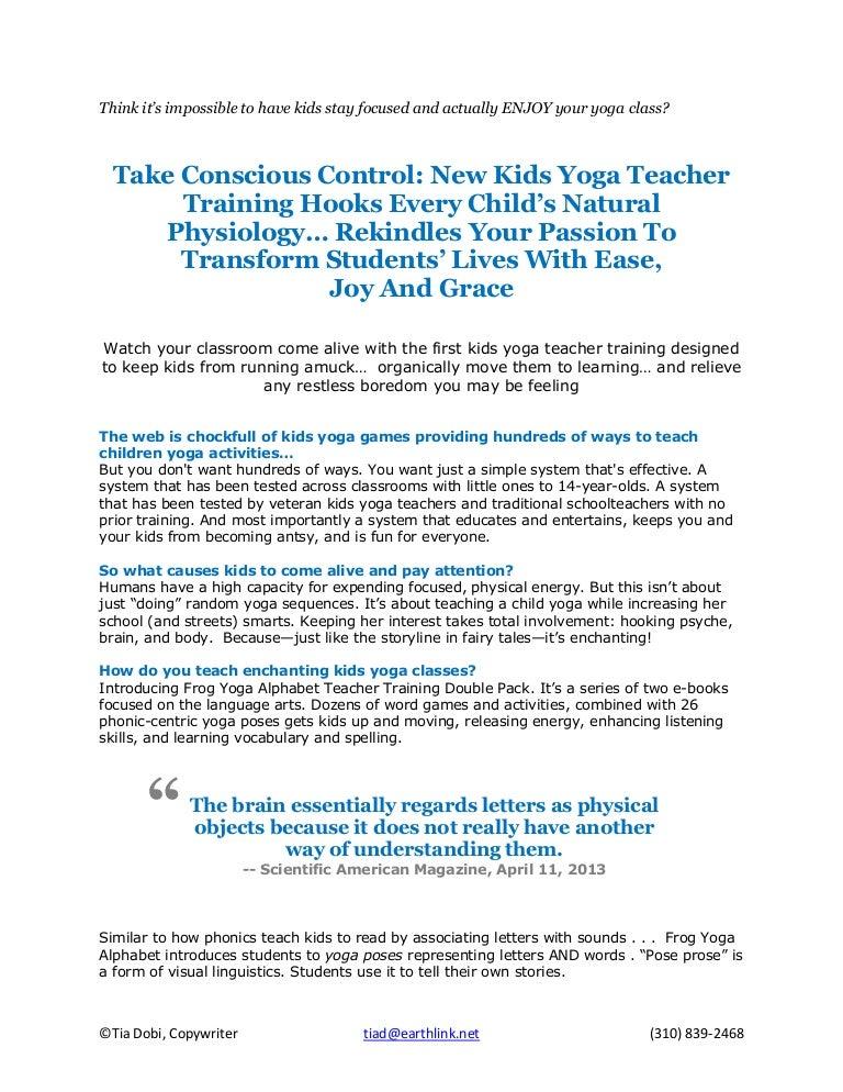 Tia Dobi Portfolio Piece Frog Yoga Alphabet Kids Yoga Teacher Train