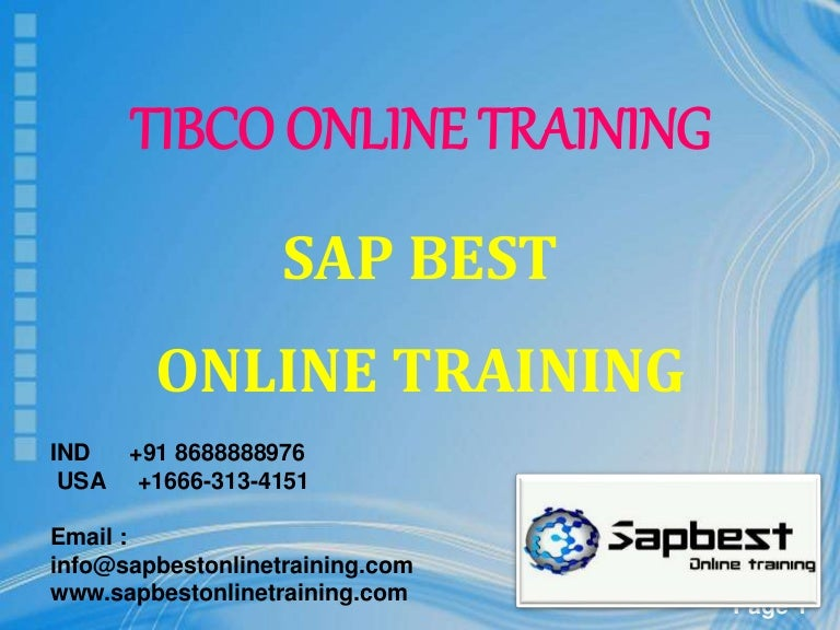 Tibco Online Training Tibco Project Support Tibco Certification
