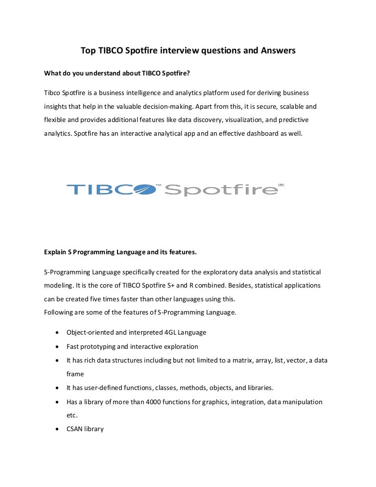 Developers pdf spotfire for tibco