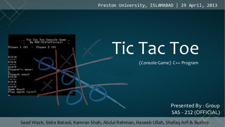 Tic tac toe c++ project presentation