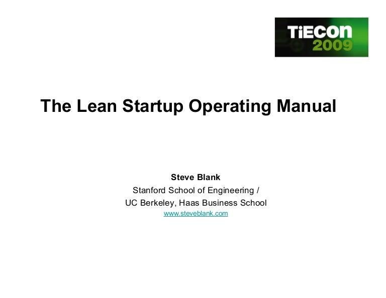 Lean Startup Operating Manual Customer Development At Work