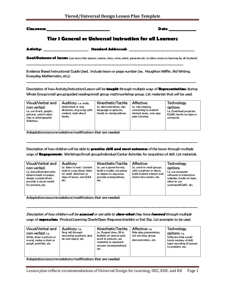 Tiered Lesson Plan Template
