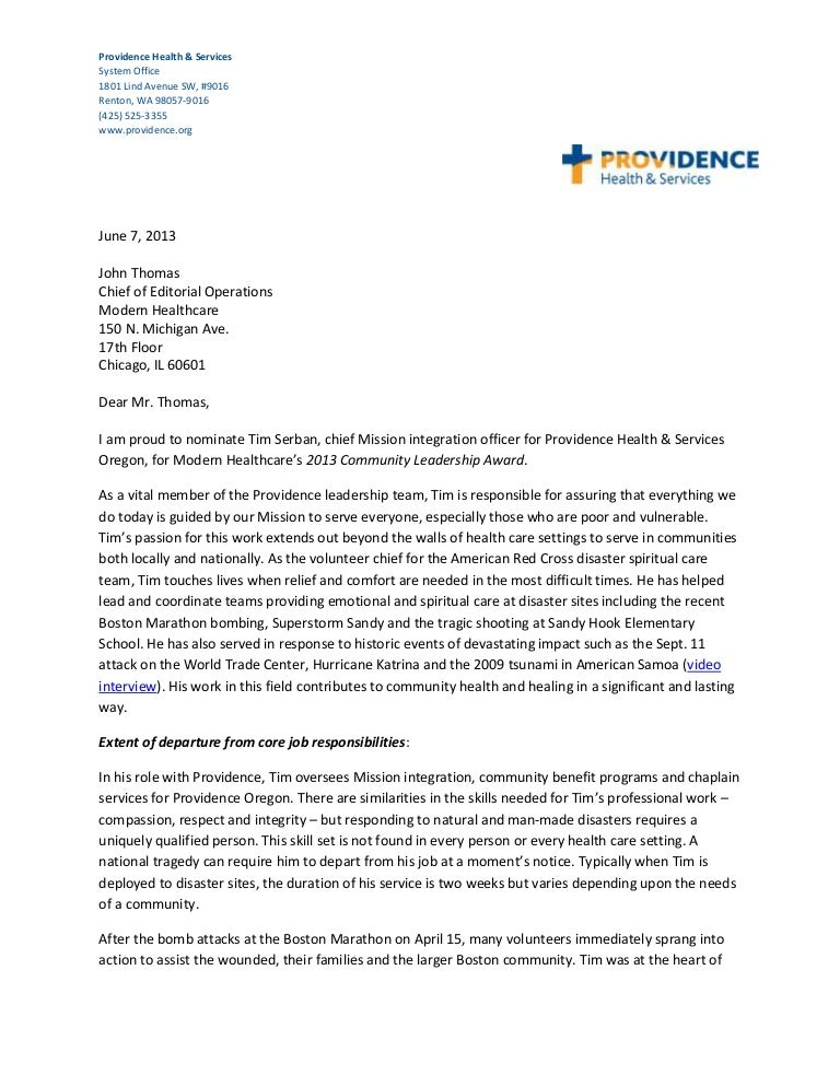 tim serban chief mission integration officer providence health se - Integrator Cover Letter