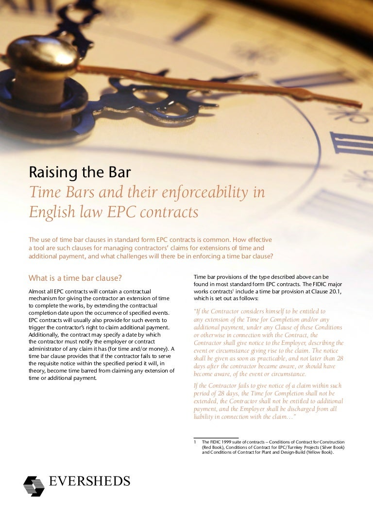 Time bars and their enforceability in english law epc contracts falaconquin