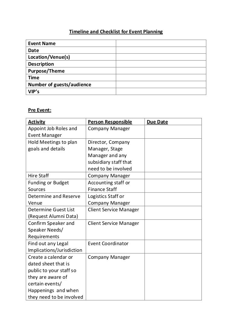 Timeline and checklist for event planning – Event Planning Worksheet