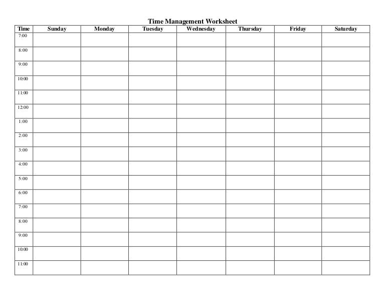 Time management worksheets