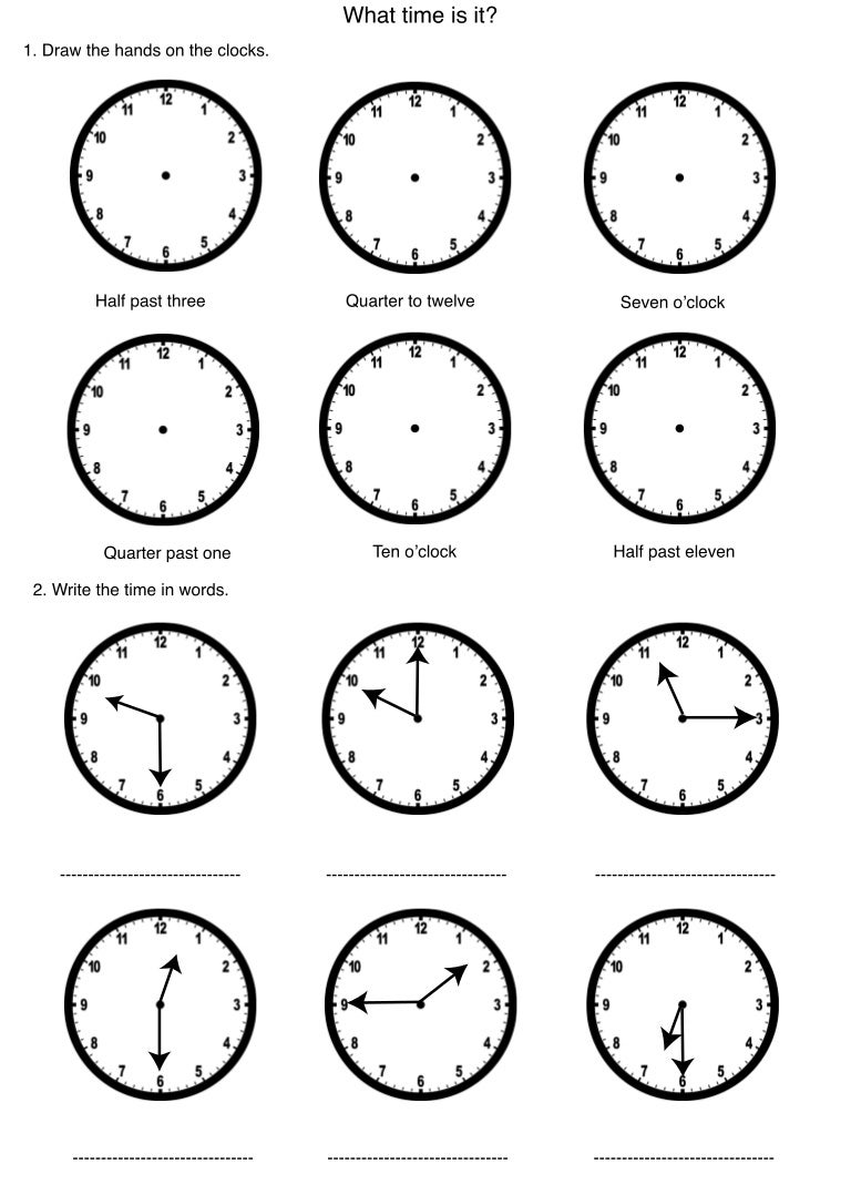 Time worksheet – Time Worksheet