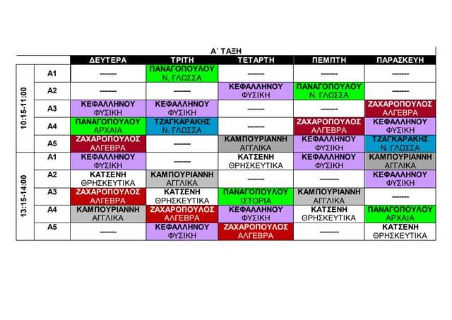 Timetable  11.05- 15.05.2020