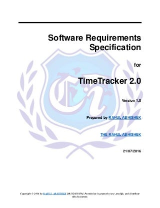 Time tracker 2.0 srs dcument by Rahul Abhishek