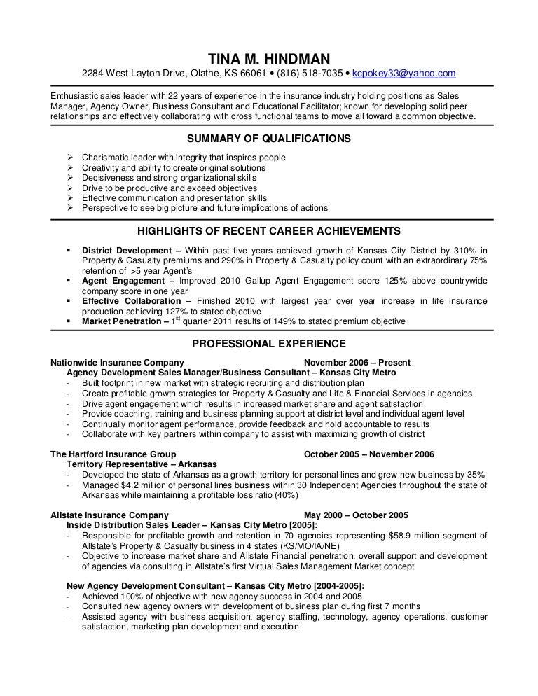 Insurance Resume Summary Examples Professional Resume Templates