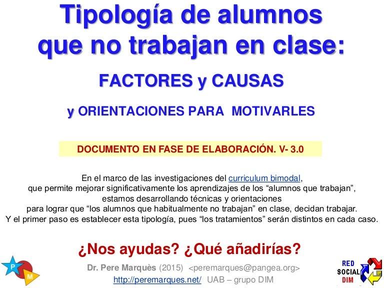 Tipología De Los Alumnos Que No Trabajan En Clase Y