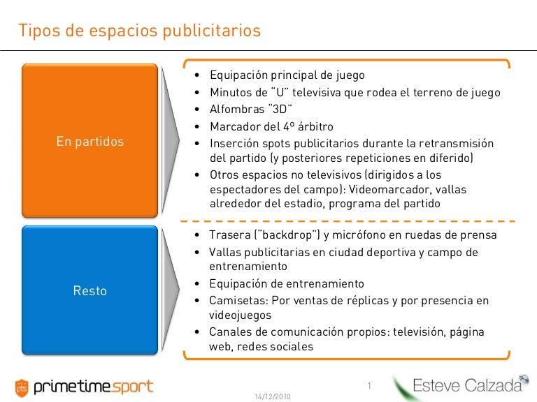 Tipos de espacios publicitarios programa patrocinio club f tbol top - Tipos de espacios ...