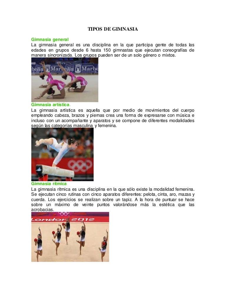 Tipos de gimnasia for Gimnasia informacion