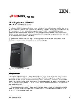 IBM Redbooks Product Guide: IBM System x3100 M4