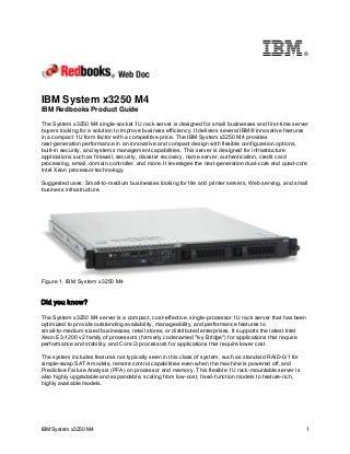IBM Redbooks Product Guide: IBM System x3250 M4