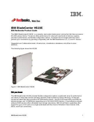 IBM Redbooks Product Guide: IBM BladeCenter HS23E