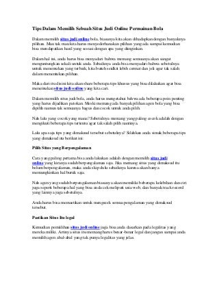 Tips dalam memilih sebuah situs judi online dalam permainan bola