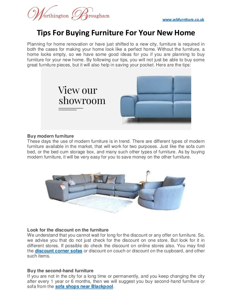 Tips for buying furniture for your new home