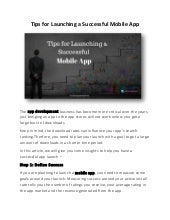 Tips for Launching a Successful Mobile App