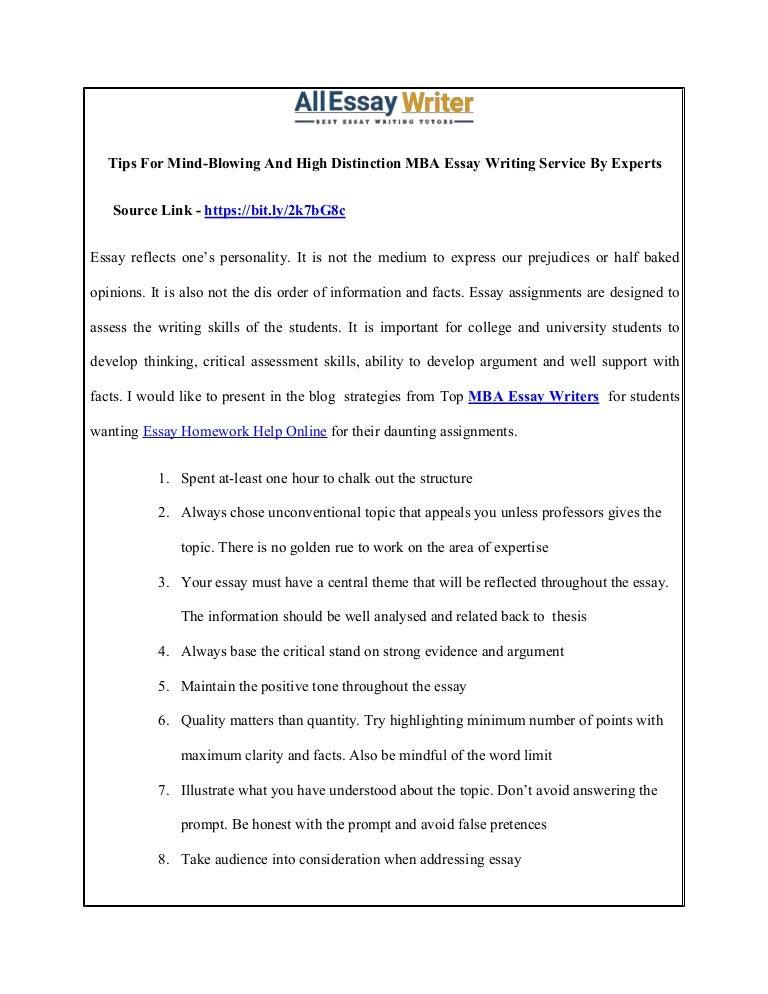 Mba essays writing service