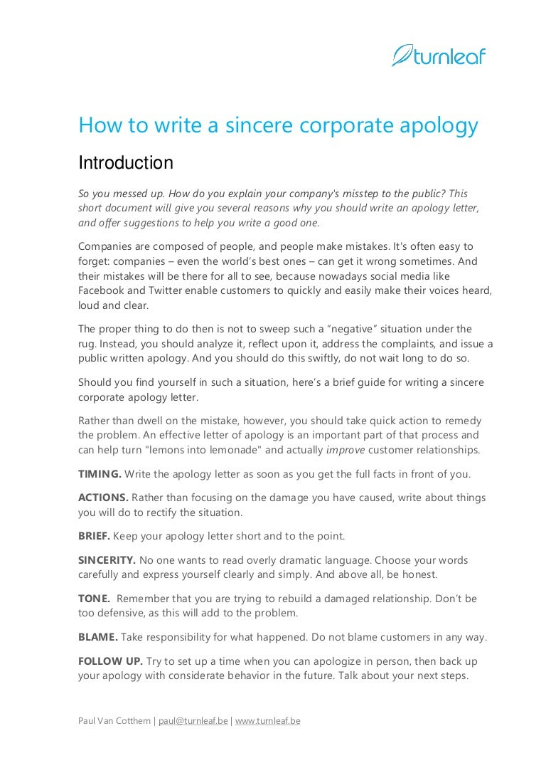 SlideShare  Letter Of Apology Example