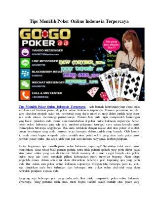 Tips Memilih Poker Online Indonesia Terpercaya - Gogopoker99