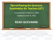 Tips on passing the licensure