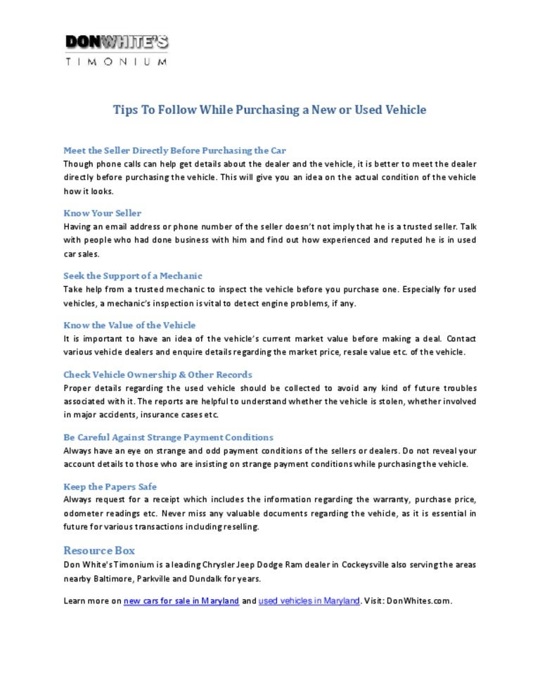 tips to follow while purchasing a new or used vehicle