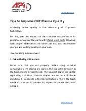Tips to improve cnc plasma quality