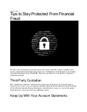 Tips to Stay Protected From Financial Fraud