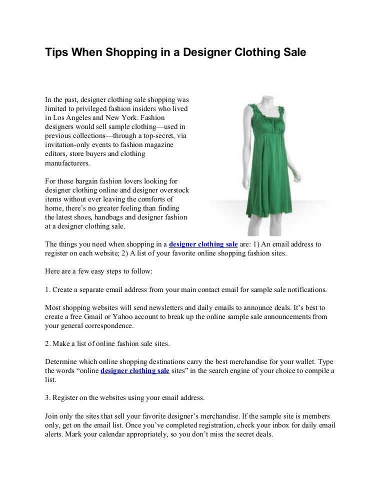 Tips When Shopping In A Designer Clothing Sale