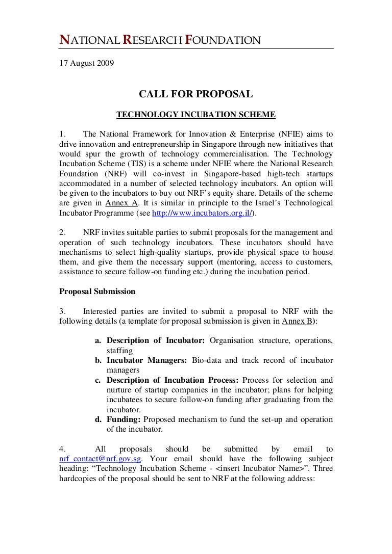 Nrf Technology Innovation Scheme Call For Proposal