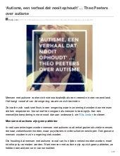 Autisme een verhaal dat nooit ophoudt ... Theo Peeters over autisme