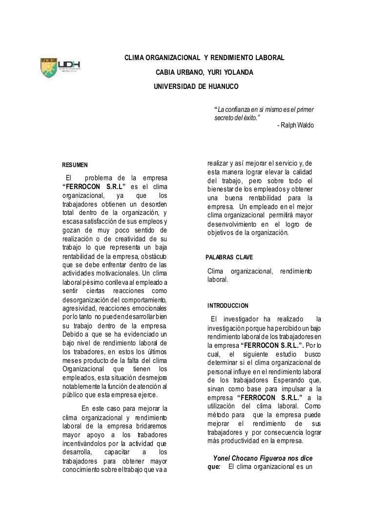 Clima Organizacional y Rendimiento Laboral