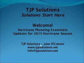 TJP Solutions 2015 hurricane season