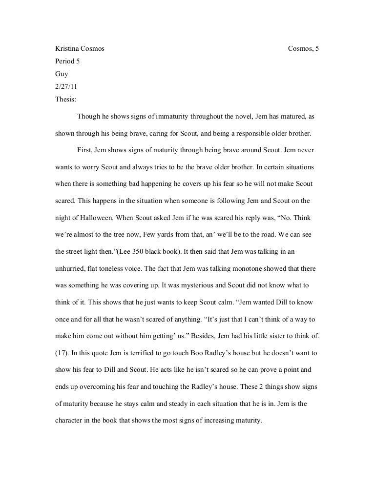 to kill a mockingbird essay on jems maturity