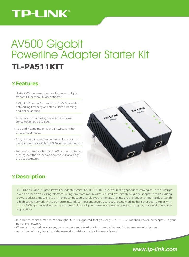 Tp Link Tl Pa511kit Av500 Gigabit Powerline Adapter Starter Kit Datas Home Wiring Internet