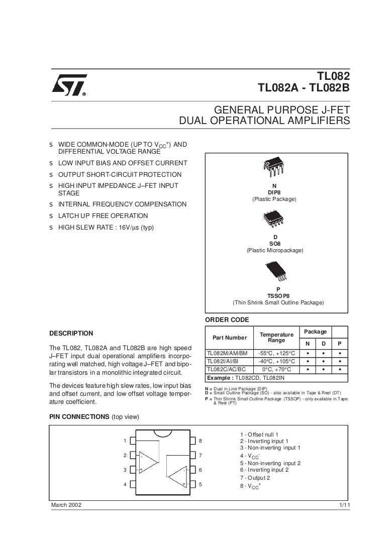 Tl082 Dual Operational Amplifier Schematic